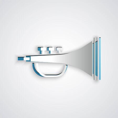 Carta tagliata Icona di tromba strumento musicale isolato su sfondo grigio. Stile artistico di carta. illustrazione vettoriale