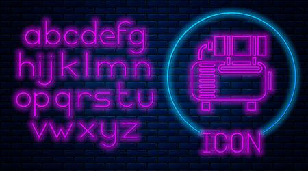 Glowing neon Air compressor icon isolated on brick wall background. Neon light alphabet. Vector Illustration