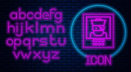 Glowing neon Wanted poster pirate icon isolated on brick wall background. Reward money. Dead or alive crime outlaw. Neon light alphabet. Vector Illustration