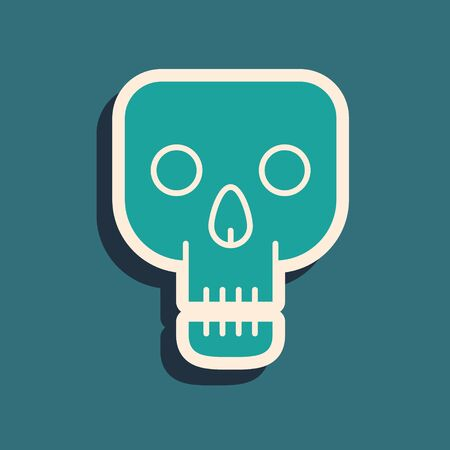 Green Skull icon isolated on blue background. Happy Halloween party. Long shadow style. Vector Illustration 向量圖像
