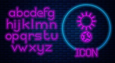 Glowing neon Solstice icon isolated on brick wall background. Neon light alphabet. Vector Illustration