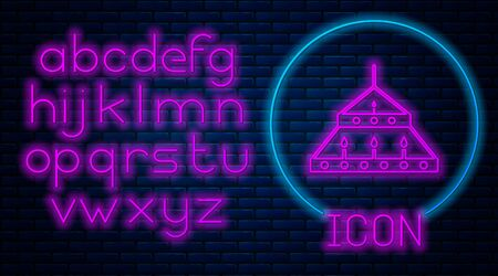 Glowing neon Massive steel chandelier with candles in medieval icon isolated on brick wall background. Neon light alphabet. Vector Illustration