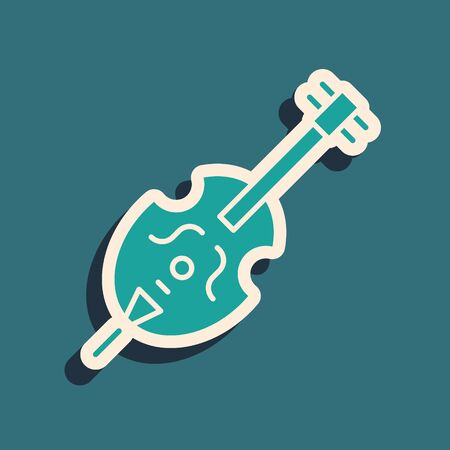 Green Violin icon isolated on blue background. Musical instrument. Long shadow style. Vector Illustration Çizim