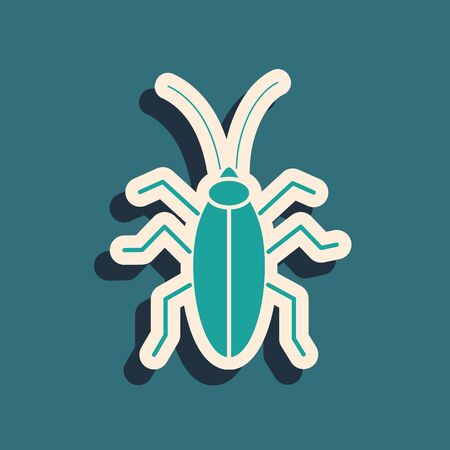 Green Cockroach icon isolated on blue background. Long shadow style. Vector Illustration Illustration