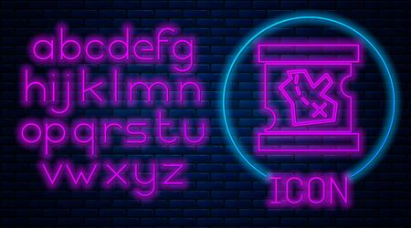 Glowing neon Pirate treasure map icon isolated on brick wall background. Neon light alphabet. Vector Illustration
