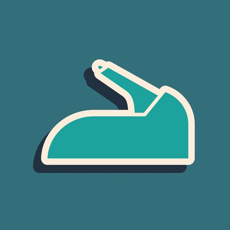 Green Car handbrake icon isolated on blue background. Parking brake lever. Long shadow style. Vector Illustration