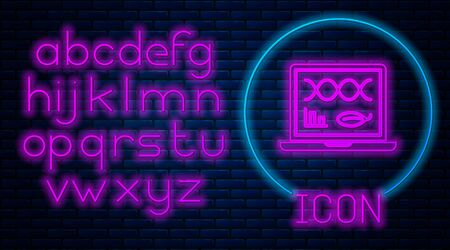 Glowing neon Genetic engineering modification on laptop icon isolated on brick wall background. DNA analysis, genetics testing, cloning. Neon light alphabet. Vector Illustration