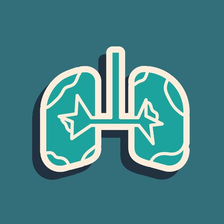 Green Lungs icon isolated on blue background. Long shadow style. Vector Illustration Archivio Fotografico - 136975200