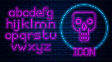 Glowing neon Skull icon isolated on brick wall background. Happy Halloween party. Neon light alphabet. Vector Illustration Vectores