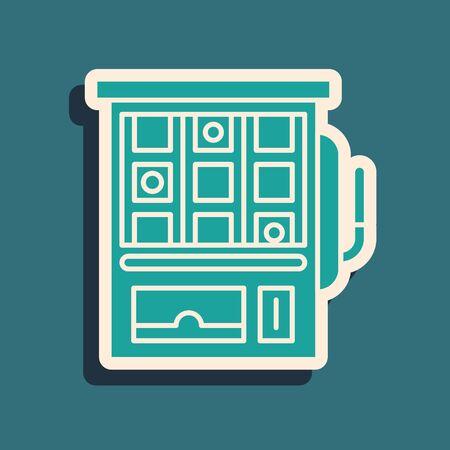 Green Slot machine icon isolated on blue background. Long shadow style. Vector Illustration Illustration