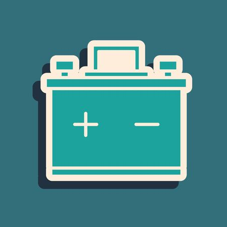 Green Car battery icon isolated on blue background. Accumulator battery energy power and electricity accumulator battery. Long shadow style. Vector Illustration