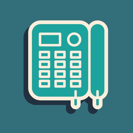 Green Telephone icon isolated on blue background. Landline phone. Long shadow style. Vector Illustration Foto de archivo - 136974854