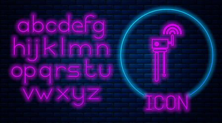 Glowing neon Router and signal symbol icon isolated on brick wall background. Wireless modem router. Computer technology internet. Neon light alphabet. Vector Illustration