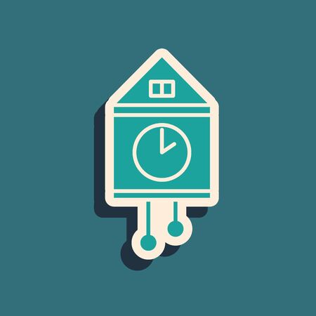 Green Retro wall watch icon isolated on blue background. Cuckoo clock sign. Antique pendulum clock. Long shadow style. Vector Illustration