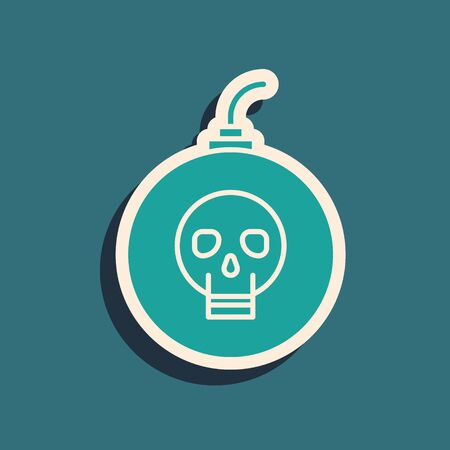 Green Bomb ready to explode icon isolated on blue background. Happy Halloween party. Long shadow style. Vector Illustration