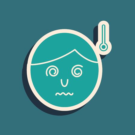 Green High human body temperature or get fever icon isolated on blue background. Disease, cold, flu symptom. Long shadow style. Vector Illustration