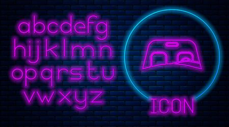 Glowing neon Car windscreen icon isolated on brick wall background. Neon light alphabet. Vector Illustration