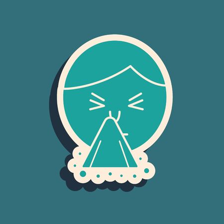 Green Man holding handkerchief or napkin to his runny nose icon isolated on blue background. Coryza desease symptoms. Long shadow style. Vector Illustration  イラスト・ベクター素材