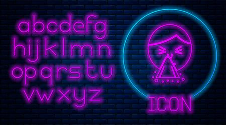 Glowing neon Man holding handkerchief or napkin to his runny nose icon isolated on brick wall background. Coryza desease symptoms. Neon light alphabet. Vector Illustration