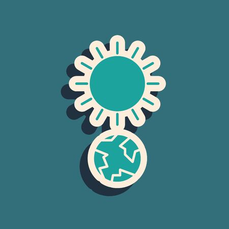 Green Solstice icon isolated on blue background. Long shadow style. Vector Illustration