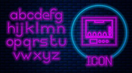 Glowing neon Incubator for eggs icon isolated on brick wall background. Neon light alphabet. Vector Illustration