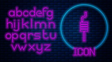 Glowing neon Car muffler icon isolated on brick wall background. Exhaust pipe. Neon light alphabet. Vector Illustration