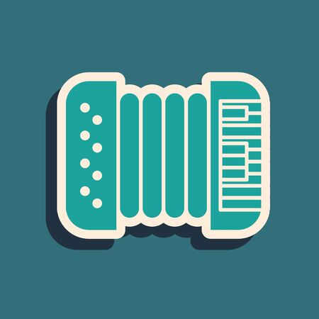 Green Musical instrument accordion icon isolated on blue background. Classical bayan, harmonic. Long shadow style. Vector Illustration