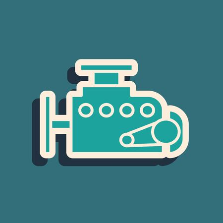 Green Car engine icon isolated on blue background. Long shadow style. Vector Illustration