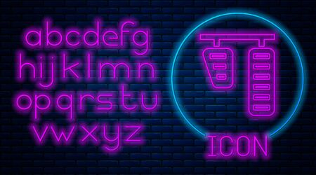 Glowing neon Car gas and brake pedals icon isolated on brick wall background. Neon light alphabet. Vector Illustration