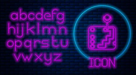 Glowing neon Gear shifter icon isolated on brick wall background. Transmission icon. Neon light alphabet. Vector Illustration