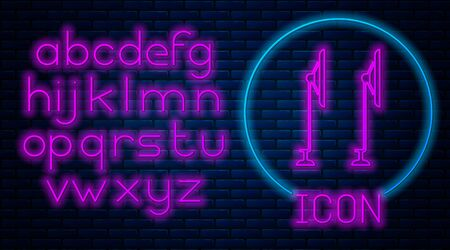 Glowing neon Windscreen wiper icon isolated on brick wall background. Neon light alphabet. Vector Illustration Illustration