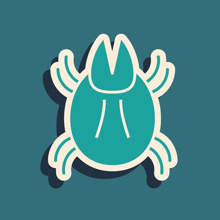 Green Parasite mite icon isolated on blue background. Long shadow style. Vector Illustration Vector Illustration