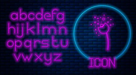 Glowing neon Flower producing pollen in atmosphere icon isolated on brick wall background. Neon light alphabet. Vector Illustration