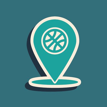 Green Location with basketball ball inside icon isolated on blue background. Long shadow style. Vector Illustration