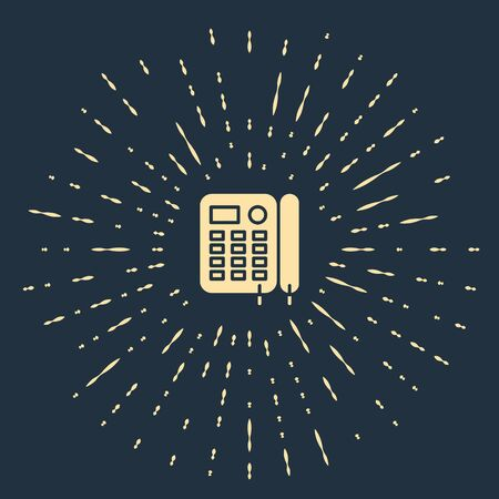 Beige Telephone icon isolated on blue background. Landline phone. Abstract circle random dots. Vector Illustration Foto de archivo - 137167968
