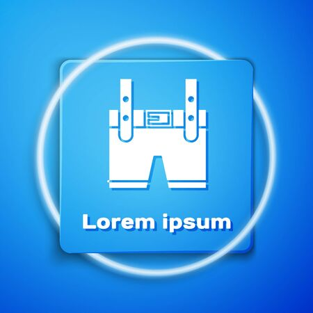 White Lederhosen icon isolated on blue background. Traditional bavarian clothing. Oktoberfest outfit. Pants with suspenders. Patrick day. Blue square button. Vector Illustration
