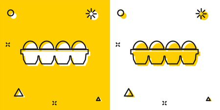 Black Chicken egg in box icon isolated on yellow and white background. Random dynamic shapes. Vector Illustration