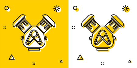 Black Car engine icon isolated on yellow and white background. Random dynamic shapes. Vector Illustration