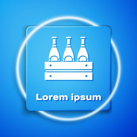 White Pack of beer bottles icon isolated on blue background. Wooden box and beer bottles. Case crate beer box sign. Blue square button. Vector Illustration