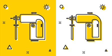 Black Electric rotary hammer drill machine icon isolated on yellow and white background. Working tool for construction, finishing, repair work. Random dynamic shapes. Vector Illustration Ilustração