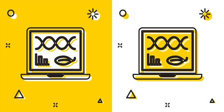 Black Genetic engineering modification on laptop icon isolated on yellow and white background. DNA analysis, genetics testing, cloning. Random dynamic shapes. Vector Illustration
