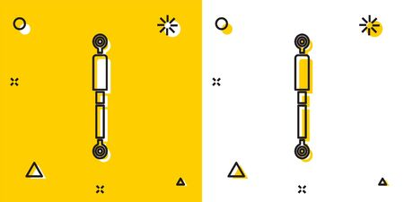 Black Shock absorber icon isolated on yellow and white background. Random dynamic shapes. Vector Illustration Illustration
