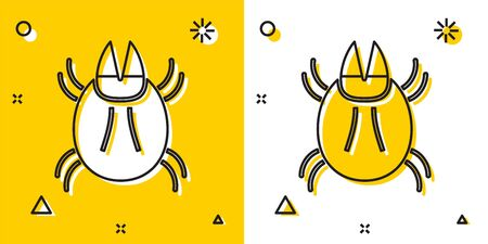 Black Parasite mite icon isolated on yellow and white background. Random dynamic shapes. Vector Illustration Vettoriali