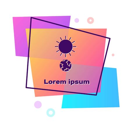 Purple Solstice icon isolated on white background. Color rectangle button. Vector Illustration