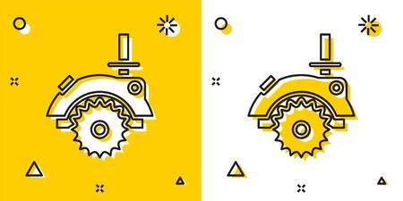 Black Electric circular saw with steel toothed disc icon isolated on yellow and white background. Electric hand tool for cutting wood or metal. Random dynamic shapes. Vector Illustration