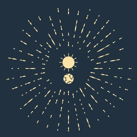 Beige Solstice icon isolated on blue background. Abstract circle random dots. Vector Illustration