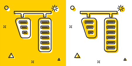 Black Car gas and brake pedals icon isolated on yellow and white background. Random dynamic shapes. Vector Illustration