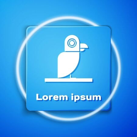 White Pirate parrot icon isolated on blue background. Blue square button. Vector Illustration