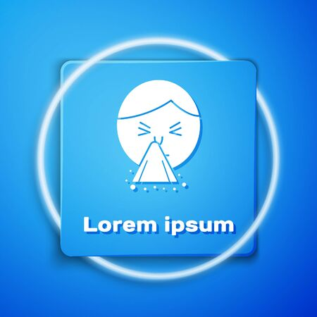 White Man holding handkerchief or napkin to his runny nose icon isolated on blue background. Coryza desease symptoms. Blue square button. Vector Illustration