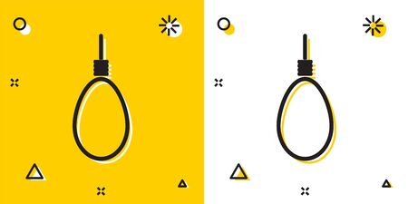 Black Gallows rope loop hanging icon isolated on yellow and white background. Rope tied into noose. Suicide, hanging or lynching. Random dynamic shapes. Vector Illustration  イラスト・ベクター素材